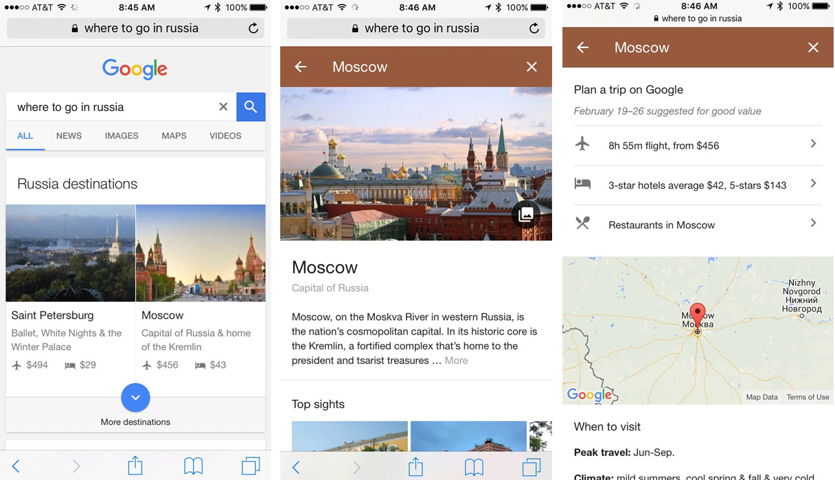 Google Travel Planning