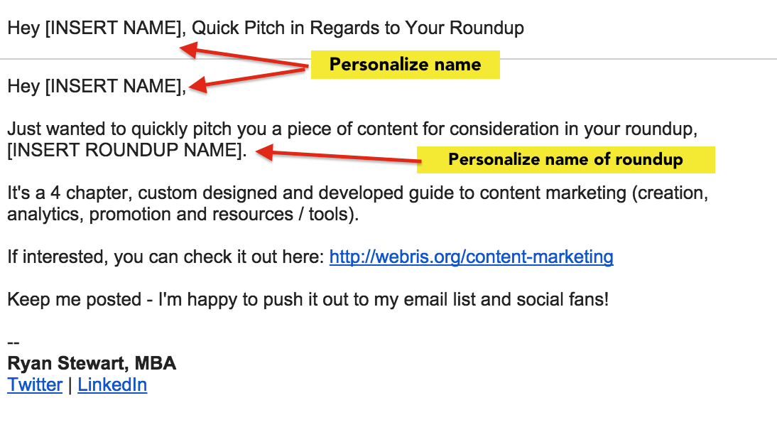 Email pitch